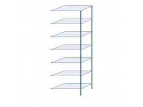 Kovový bezšroubový regál, přístavbový, 300 x 100 x 50 cm, 150 kg/police, 7 polic, modrý
