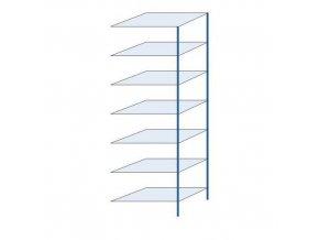 Kovový bezšroubový regál, přístavbový, 300 x 100 x 60 cm, 130 kg/police, 7 polic, modrý