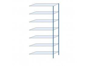 Kovový bezšroubový regál, přístavbový, 300 x 130 x 40 cm, 110 kg/police, 7 polic, modrý