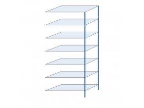 Kovový bezšroubový regál, přístavbový, 300 x 130 x 60 cm, 150 kg/police, 7 polic, modrý