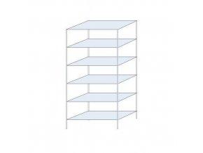 Bezšroubový Kovový bezšroubový regál Perun, základní, 250 x 120 x 60, 205 kg/polici, 6 polic, pozink