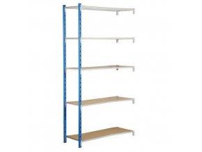 Kovový bezšroubový regál, přístavbový, 200 x 100 x 80 cm, 250 kg/police, 5 polic, modrý