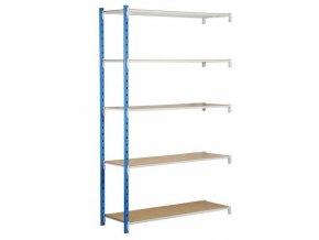 Kovový bezšroubový regál, přístavbový, 200 x 125 x 40 cm, 250 kg/police, 5 polic, modrý