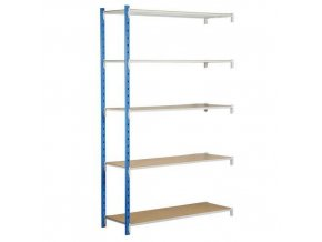 Kovový bezšroubový regál, přístavbový, 200 x 125 x 50 cm, 250 kg/police, 5 polic, modrý
