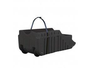 Retenční vozík na sudy Justrite, recyklovaný PE, černý, 250 l