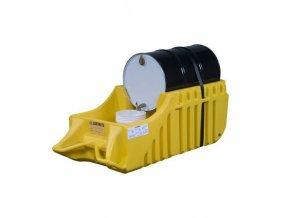 Retenční vozík na sudy Justrite, nerecyklovaný PE, 250 l