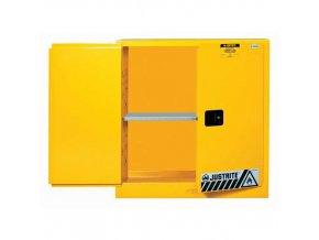 Skříň na hořlaviny Justrite Sure-Grip® EX, 1118 x 1092 x 457 mm, automatické uzavírání