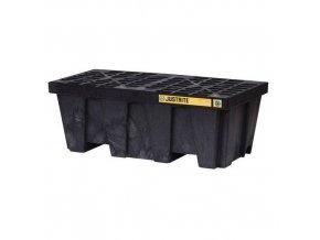 Plastová záchytná vana Justrite, recyklovaný PE, černá, 250 l