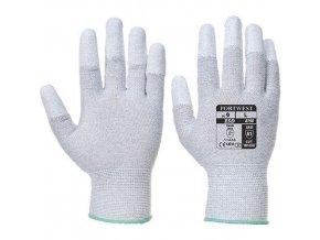 Antistatické rukavice PU Fingertip, šedá, vel. XXS