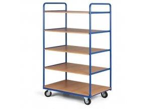 Vysoký policový vozík, do 200 kg, 5 polic