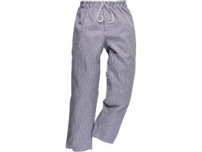 Kalhoty Bromley Chefs, černá/bílá, prodloužené, vel. XXXL