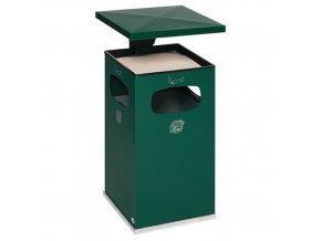 Kovový venkovní odpadkový koš Manutan s popelníkem, objem 72 l, zelený