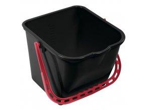 Plastový kbelík Manutan s výlevkou, 15 l, černý/červený