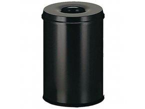 Kovový samozhášecí odpadkový koš Manutan Safe, objem 30 l, černý
