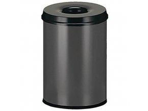 Kovový samozhášecí odpadkový koš Manutan Safe, objem 20 l, šedý/černý