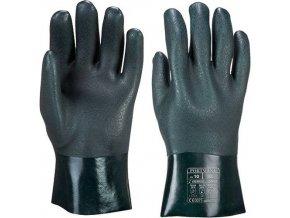 Dvakrát máčené PVC rukavice 27cm, zelená, vel. XL
