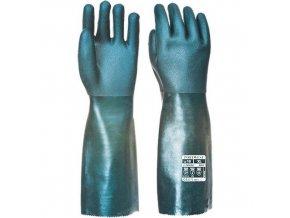 Dvakrát máčené PVC rukavice 45cm, zelená, vel. XL