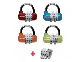 Kombinační visací zámek horizontální Master Lock, mix barev, 4ks