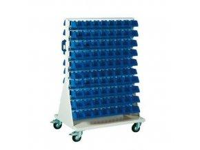 Mobilní oboustranný regál s boxy Unibox (160 ks)