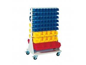 Mobilní oboustranný regál s boxy Unibox (113 ks)