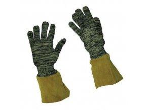 Kevlarové rukavice Manutan, černé/hnědé