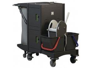 Úklidový vozík Manutan s pákovým ždímačem, uzamykatelný, 2 x 15 l