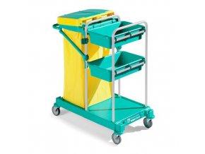Úklidový vozík s policemi TTS