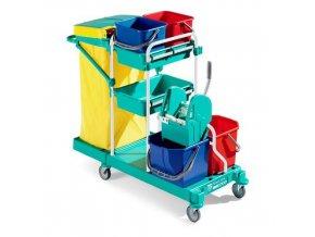 Úklidový vozík s pákovým ždímačem TTS, objem 2 x 15 l a 2 x 12 l