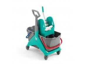 Úklidový vozík s pákovým ždímačem TTS, objem 2 x 25 l