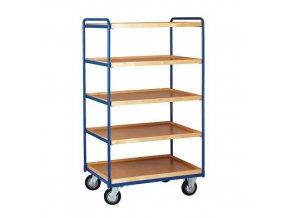 Vysoký policový vozík, do 200 kg, 5 polic s vyvýšenými hranami
