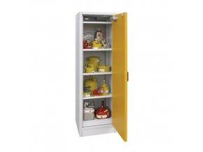Žáruvzdorná skříň na nebezpečné látky, 595 x 595 x 1 960 mm, šedá/žlutá