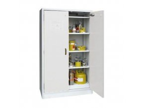 Žáruvzdorná skříň na nebezpečné látky, 1 195 x 595 x 1 960 mm, šedá/šedá