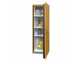 Žáruvzdorná skříň na nebezpečné látky, 595 x 598 x 1 935 mm, šedá/žlutá