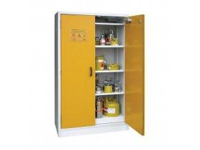 Žáruvzdorná skříň na nebezpečné látky, 1 190 x 598 x 1 935 mm, šedá/žlutá