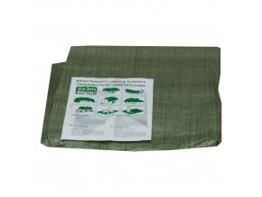 TOPTRADE plachta krycí, zelená, s kovovými oky, 6 x 10 m, standard