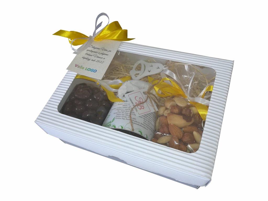 Malý balíček s medově žlutou mašlí