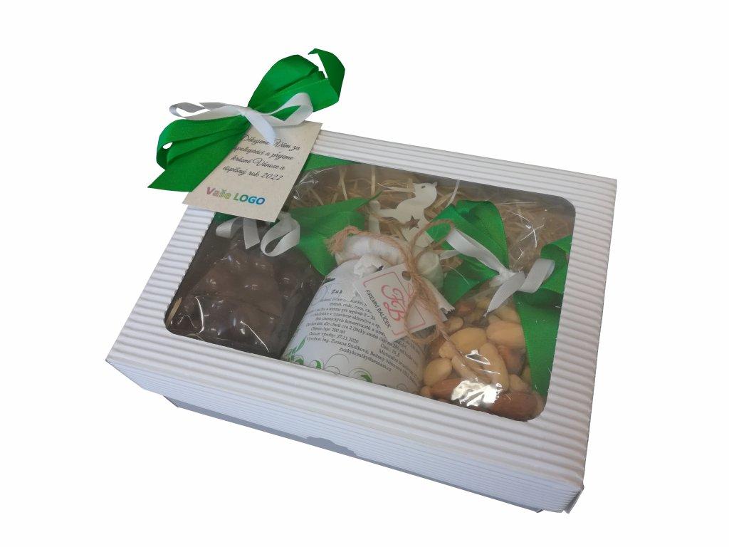 Malý balíček s tmavě zelenou mašlí