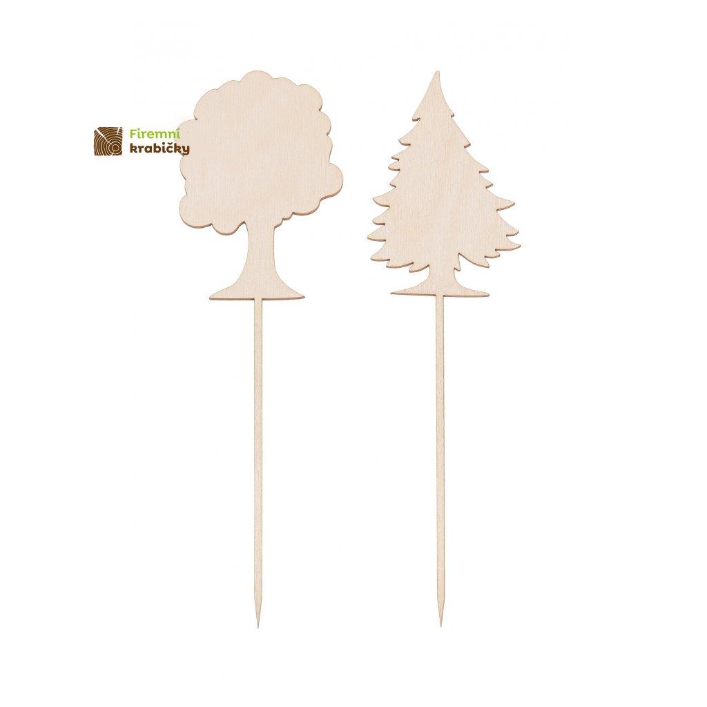 drzewka drewniane na piku 2szt