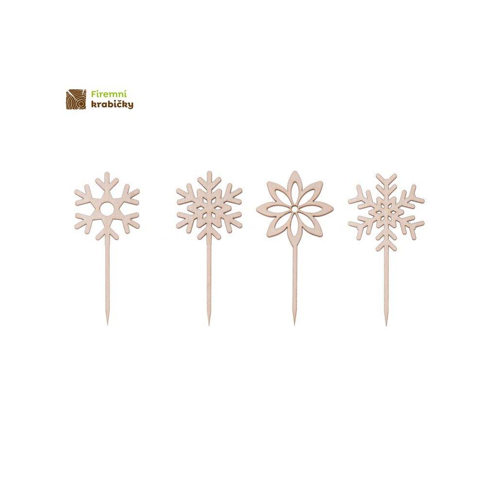 topper drewniany na tort ozdoby swiateczne dekoracje sniezynka mini komplet