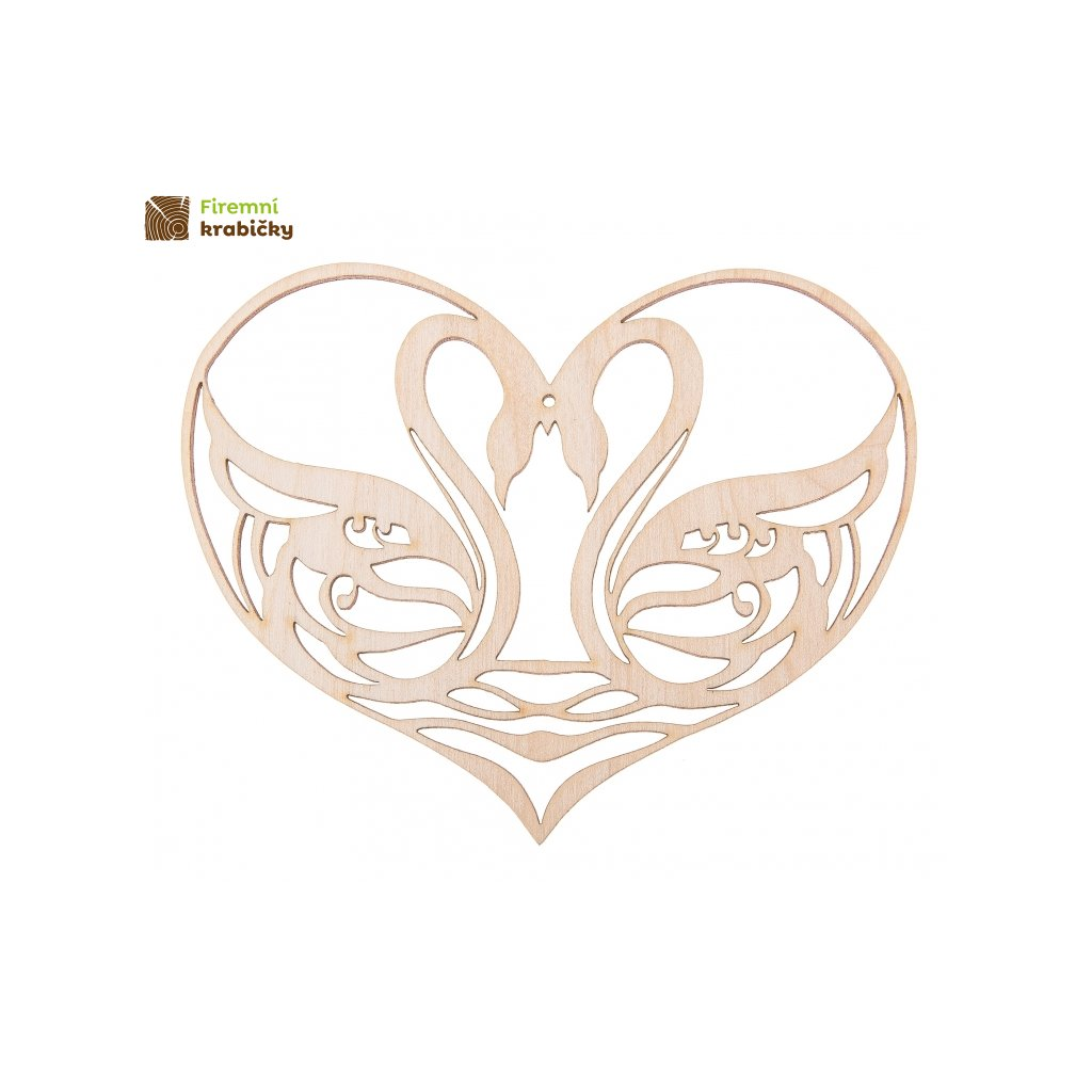 drewniane serce z labedziami