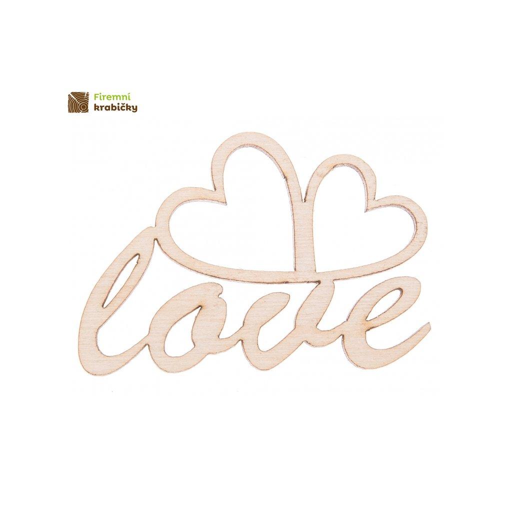 drewniany napis love 4 z serduszkami