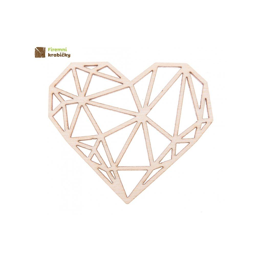 drewniane diamentowe serce ze sklejki