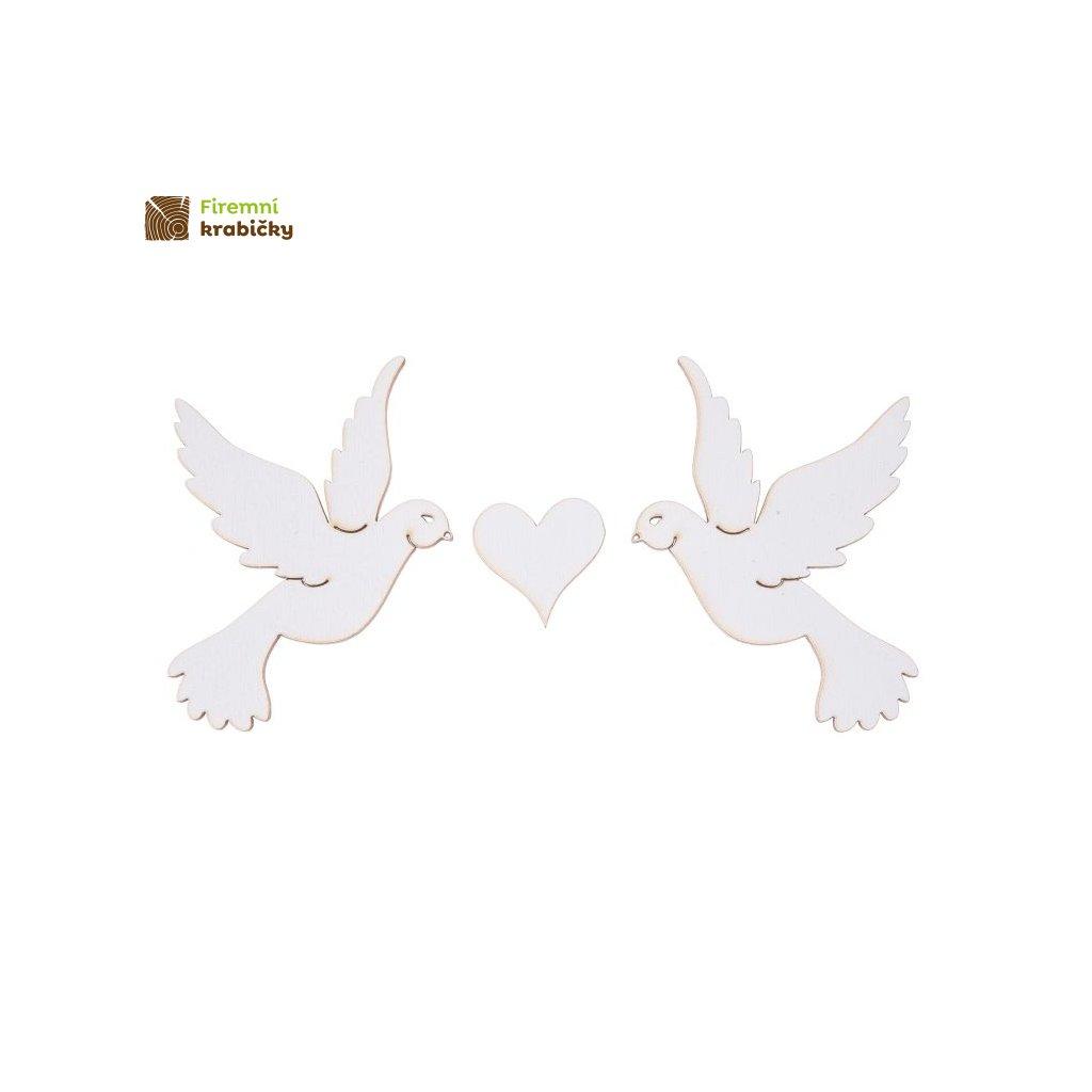 ptaszki drewniane z sercem biale