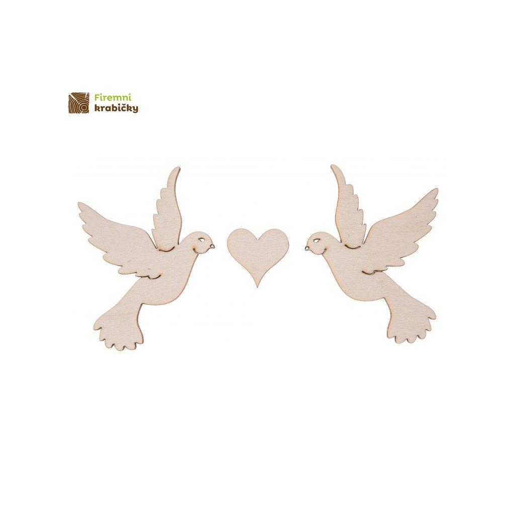 drewniane ptaszki z sercem