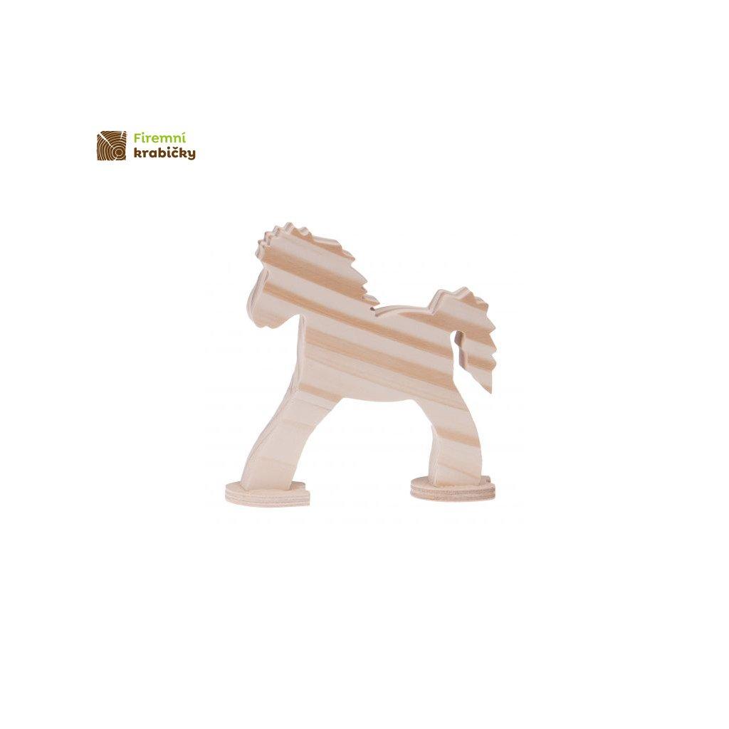 drewniany konik na podstawce maly