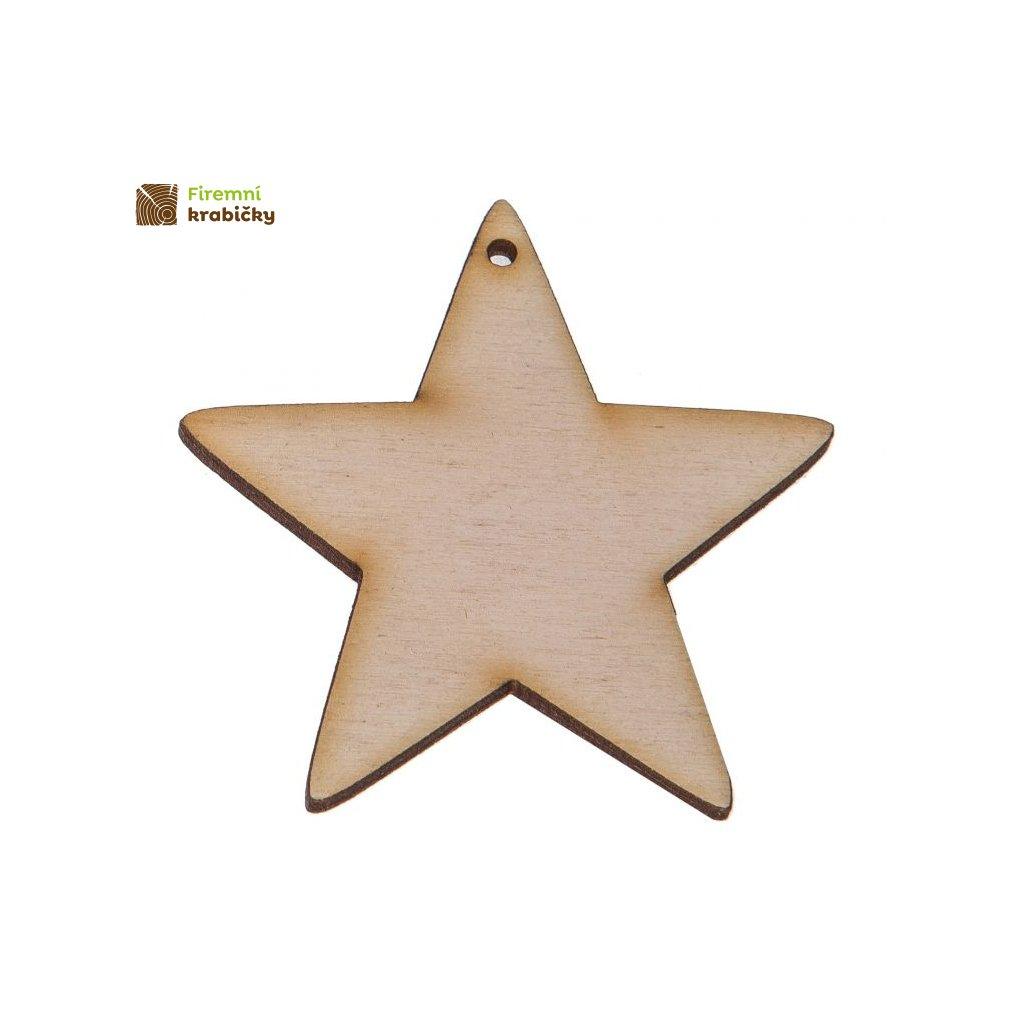 drewniana gwiazdka 3x3 cm zawieszka 1szt