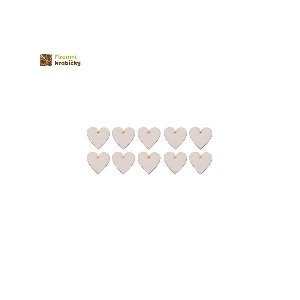 drewniane serce 3x3 cm zawieszka 10 szt