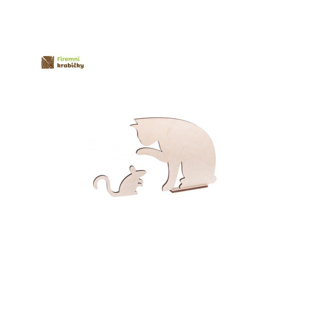 drewniana mysz z kotkiem