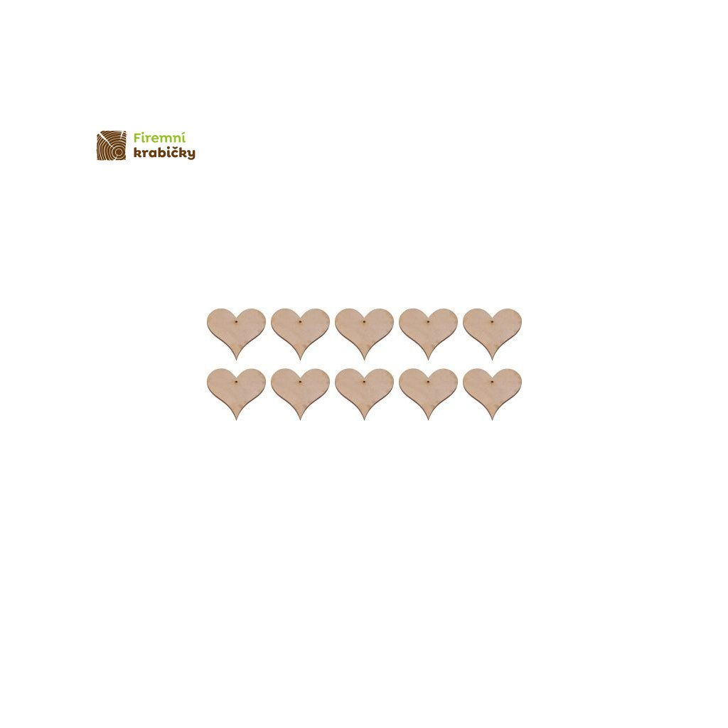 drewniane serce 2 zawieszka 4x4 cm 10 szt