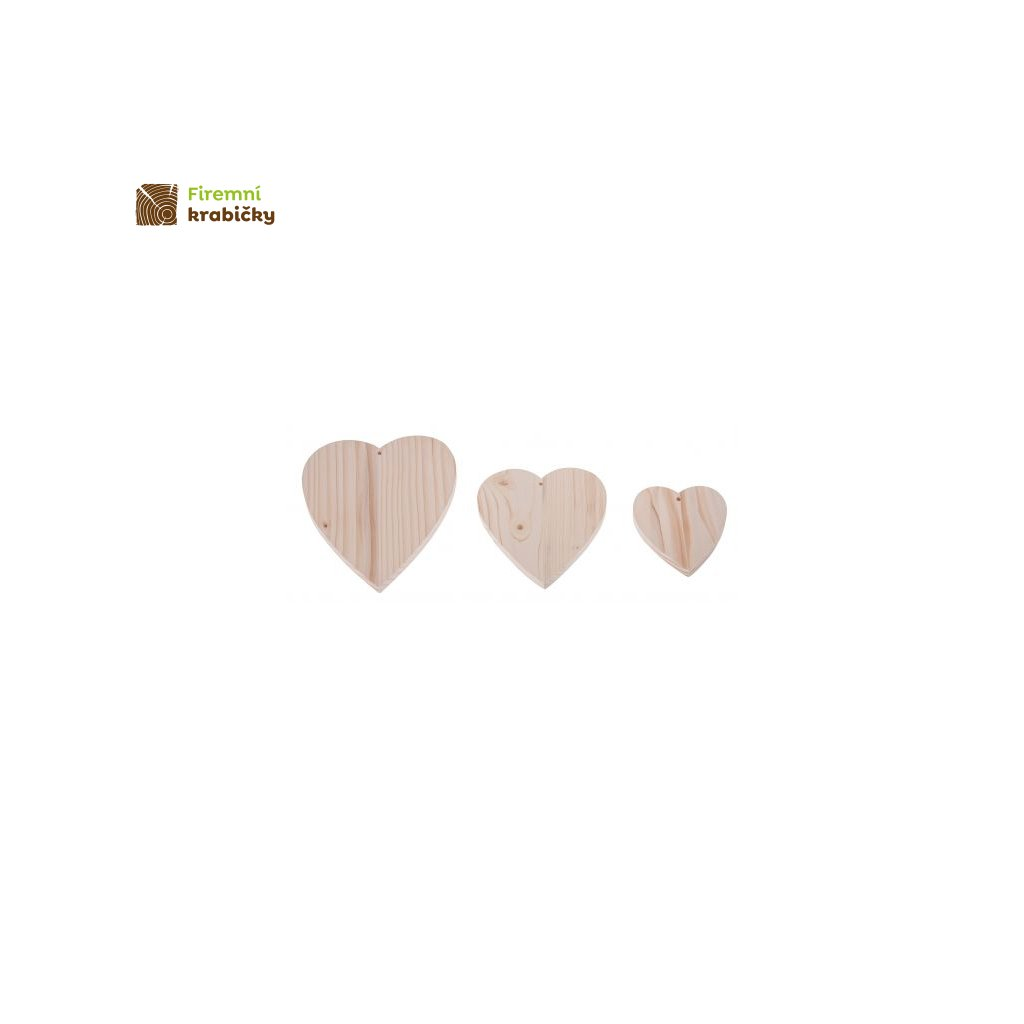 drewniane serce kpl 3 szt